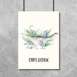 Plakat dla chłopca z dinozaurem diplodokiem
