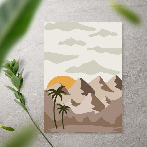 Plakat słońce nad górami i palmy