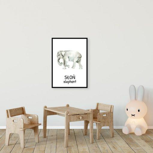 Plakat edukacyjny ze słoniem dla dzieci