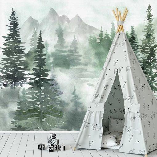 Dziecięca fototapeta z choinkowym lasem