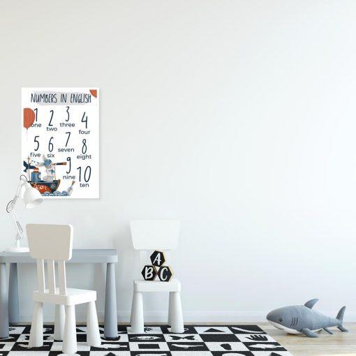 Dydaktyczny plakat z cyferkami w języku angielskim dla dzieci