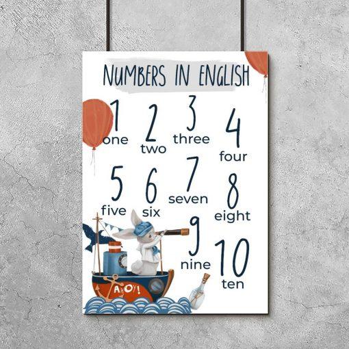 Angielskie cyferki na plakacie dla dzieci