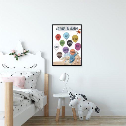 Nazwy kolorów na balonikach - Plakat dla przedszkolaka