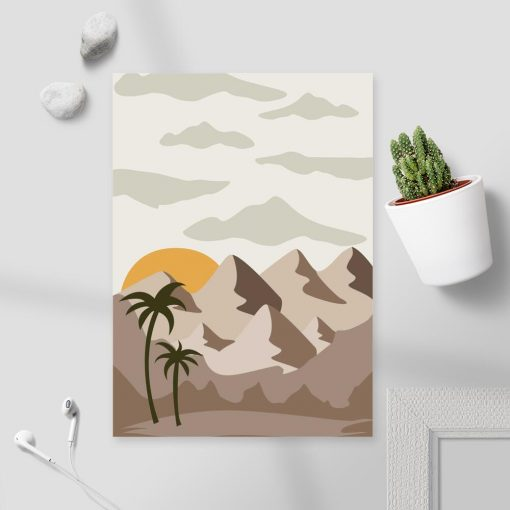 Plakat góry, palmy i zachód słońca