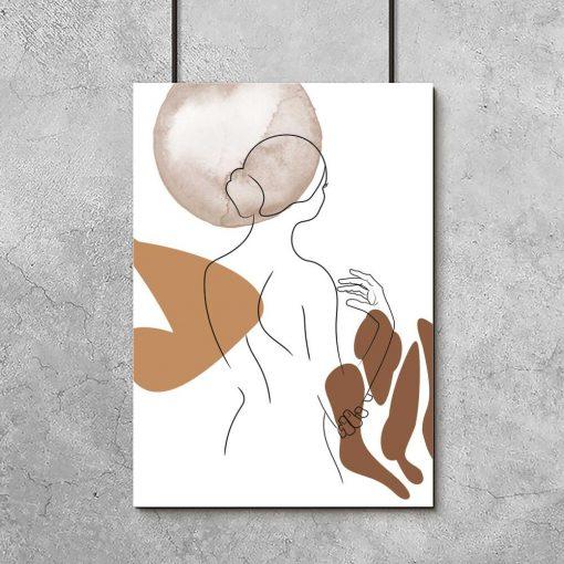 plakat nowoczesny - brązowa abstrakcja