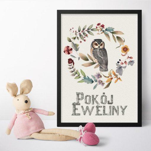 Plakat z napisem pokój Eweliny oraz sową