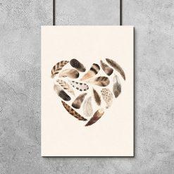 Plakat dla dzieci - serce z piór