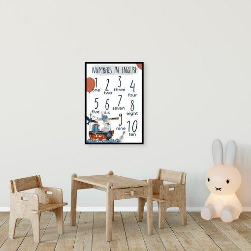 Niebieski statek z królikiem - Plakat dziecięcy