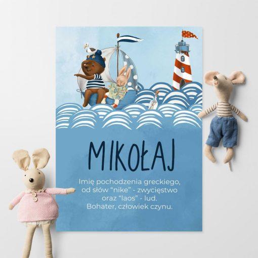 Plakat z imieniem dla dzieci - Kaptan miś
