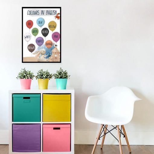 Nazwy kolorów na balonikach - Plakat dla dzieci