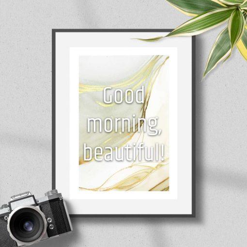 Plakat z typografią good morning beautiful
