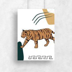 Plakat z tygrysem i ornamentem