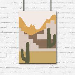 Plakat z motywem pejzażu z kaktusami