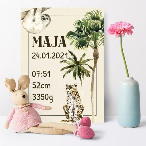 plakat z gepardem i datą urodzenia do pokoju dziecinnego