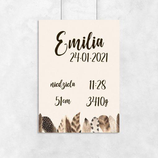 Plakat do pokoju dziecka - imię i data urodzenia