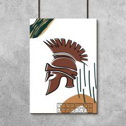 Plakat z motywem hełmu ze starożytnej Grecji