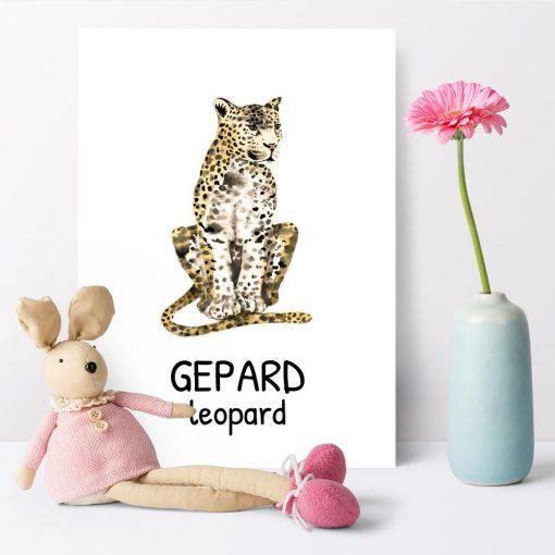 gepard-leopard na plakacie do pokoju dziecka