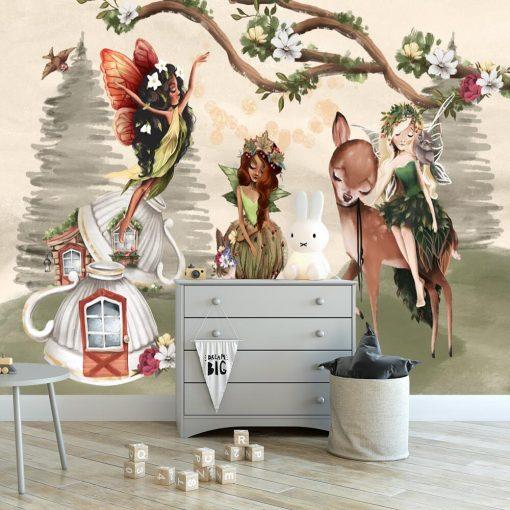 Trzy leśne nimfy i zwierzątka - fototapeta dla dzieci