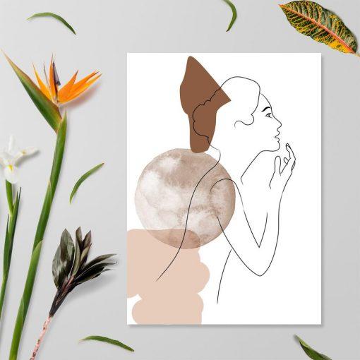 Plakat ze szkicem ludzkiej postaci do dekoracji sypialni