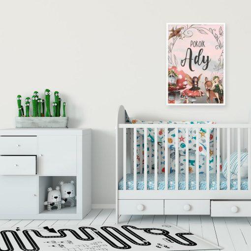 Imienny plakat z sarną do pokoju dziewczynki