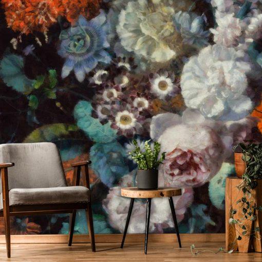 Kwiatowa foto-tapeta w rustykalnym stylu do kobiecego wnętrza