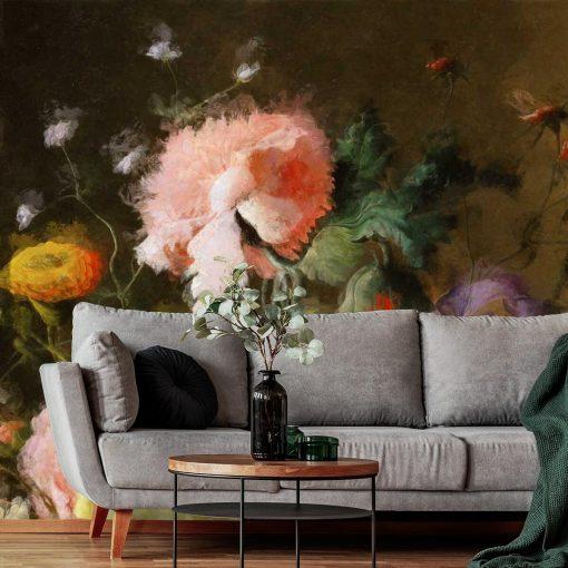 Kwiecista foto-tapeta z goździkiem i irysem do dekoracji przedpokoju