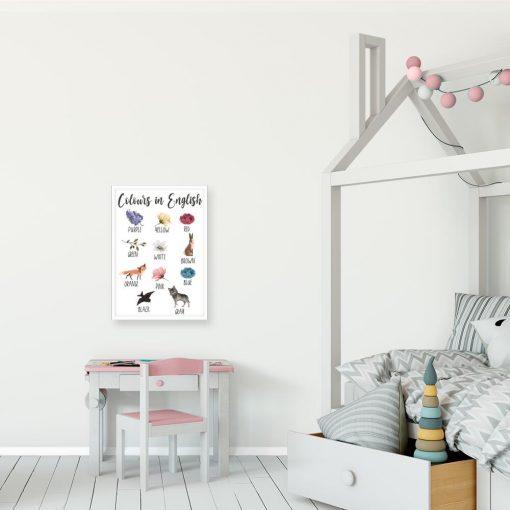 Dziewczęcy plakat do nauki kolorów - Kwiaty