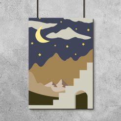 Plakat z księżycem i gwiazdami nad górami