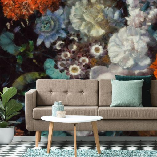 Kwiatowa foto-tapeta w rustykalnym stylu do jadalni