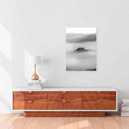 Czarno-biały obraz z widoczkiem górskim do gabinetu