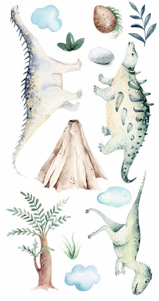 Komplet naklejek do pokoiku dziecięcego w dinozaury