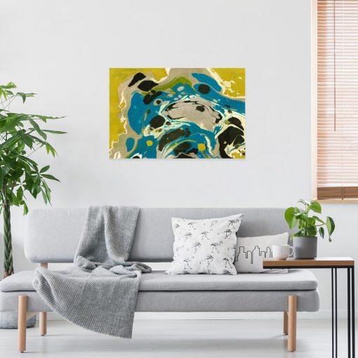 Niebieska abstrakcja - Obraz z reprodukcją