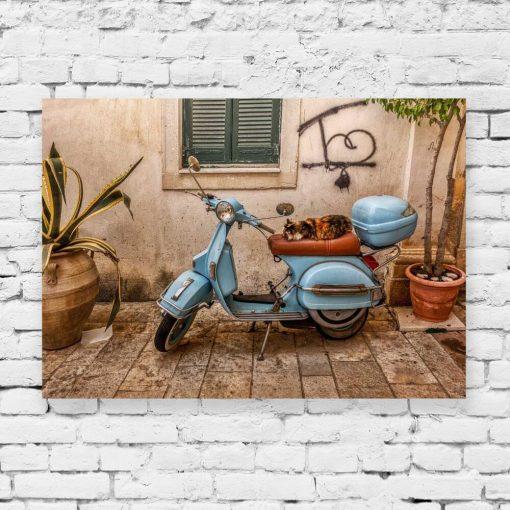 Kolorowy obraz z uliczką na Korfu do sypialni