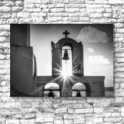Szary obraz - Greckie Santorini do przedpokoju