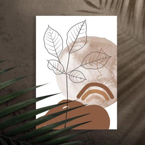 Plakat z listeczkami na tle słońca