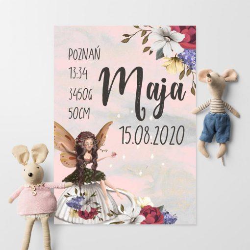 Plakat imienny z kwiatami dla dzieci