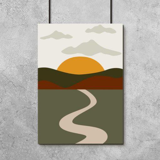 Plakat w zieleni z pejzażem i zachodem słońca