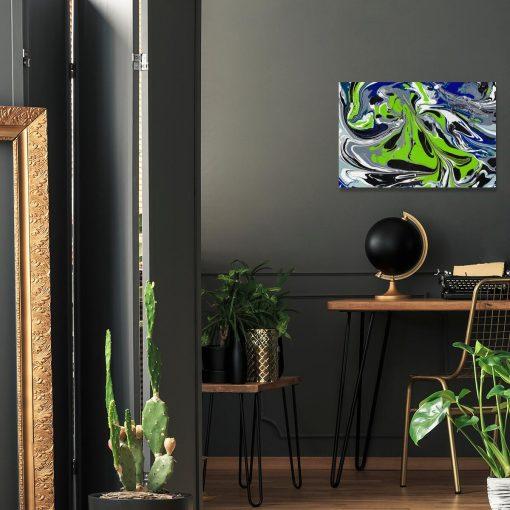 Obraz zwielokolorową abstrakcją do salonu