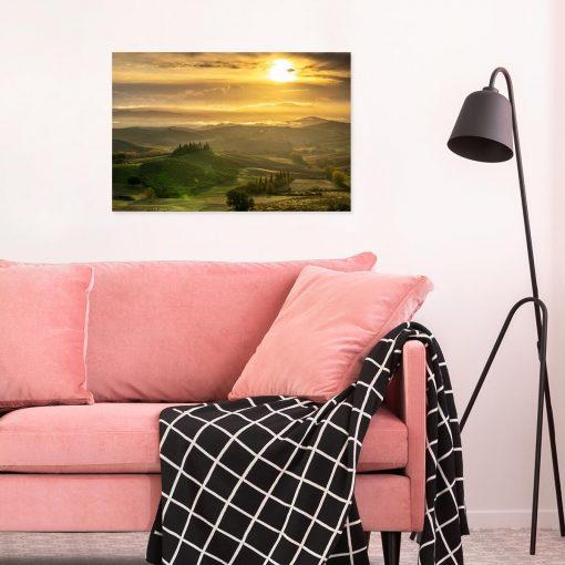 Obraz pejzaż z winnicą na wzgórzu