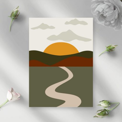 Plakat z motywem szosy i słońca