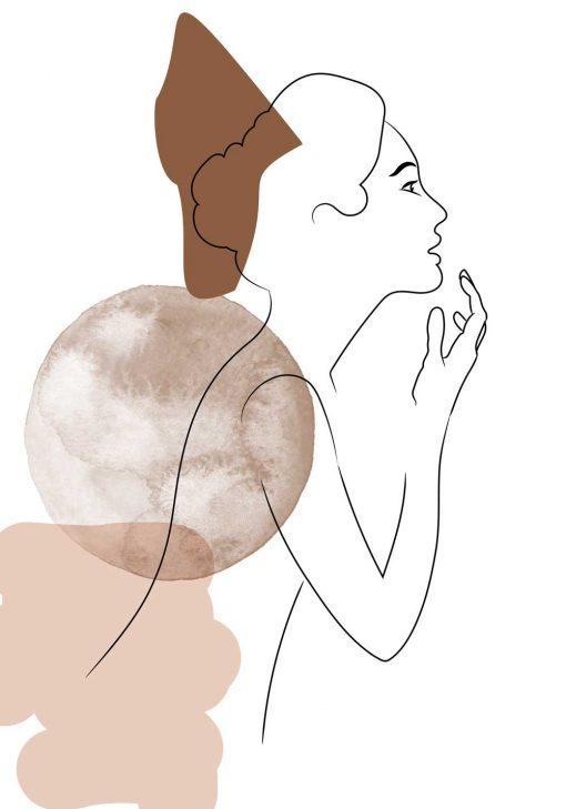 Plakat szkic kobiety w koku