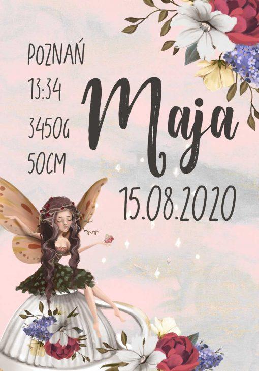 Plakat- Metryczka dla dziewczynek z kwiatowym motywem