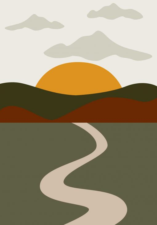 Plakat z drogą wśród łąk