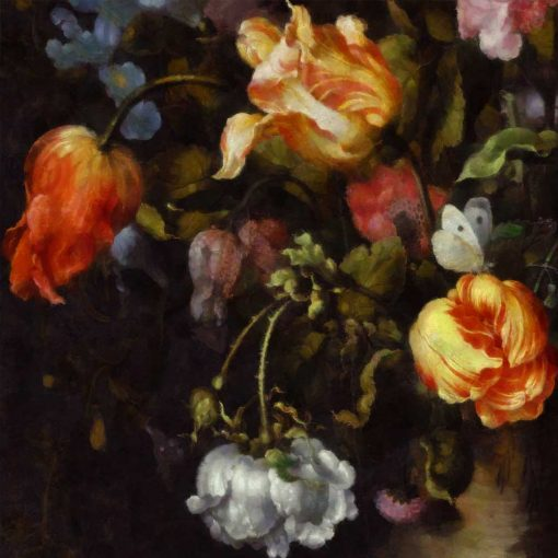 Malownicza fototapeta z kwiatami do przedpokoju