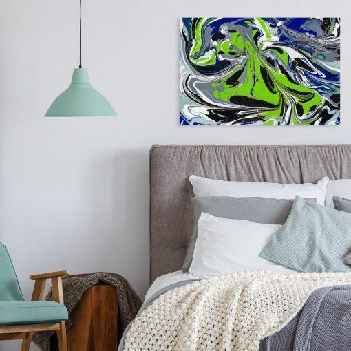 Obraz z wielokolorową abstrakcją do sypialni