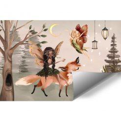 Leśna foto-tapeta dziecięca z lampionami