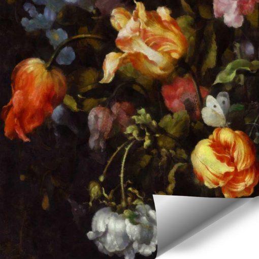Malownicza fototapeta z kwiatami do jadalni