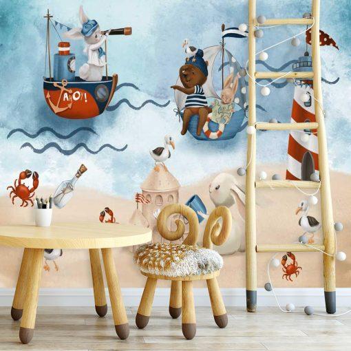 Mewy i Kraby na Plaży - Fototapeta dla dzieci