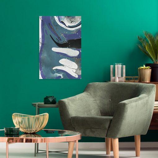 Obrazy w tonacji niebieskiej z abstrakcją