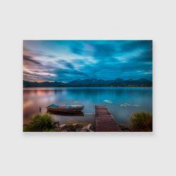 Obraz pejzaż z łodzią